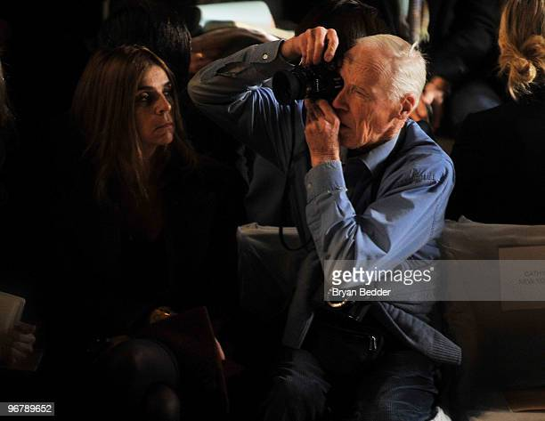 EditorinChief of the French Vogue Carine Roitfeld and photographer Bill Cunningham attend the Michael Kors Fall 2010 Fashion Show during MercedesBenz...