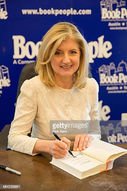 Editorinchief of The Huffington Post Arianna Huffington signs copies of her new book 'Thrive The Third Metric to Redefining Success and Creating a...
