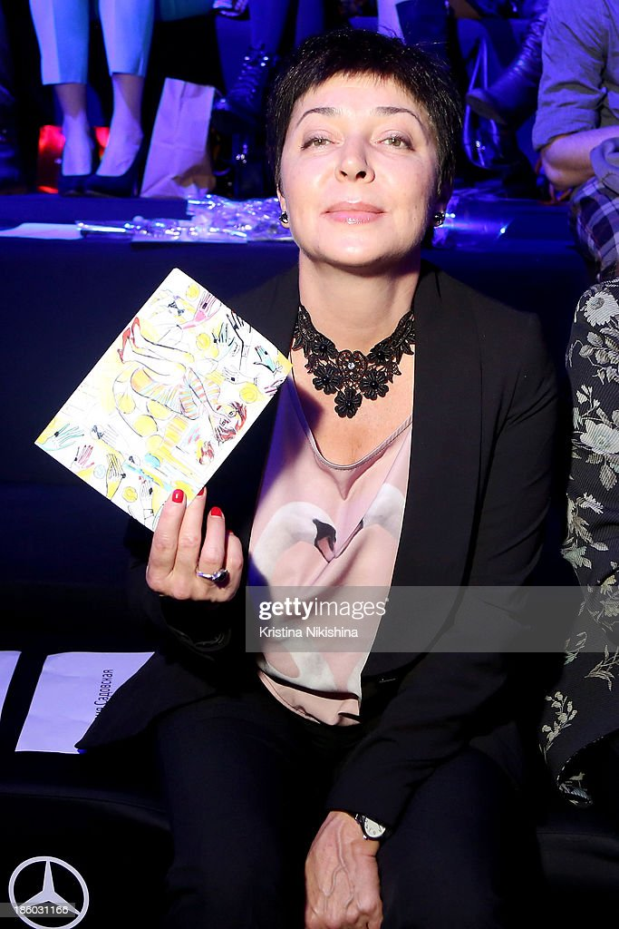 Editor-in-chief of the Mezonin magazine Natasha Barbye attends the Mercedes-Benz Fashion Week Russia S/S 2014 on October 27, 2013 in Moscow, Russia.