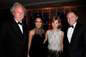 Editorinchief of Vanity Fair Graydon Carter actress Salma Hayek Anna Carter and FrancoisHenri Pinault attend the 2013 Vanity Fair Oscar Party hosted...
