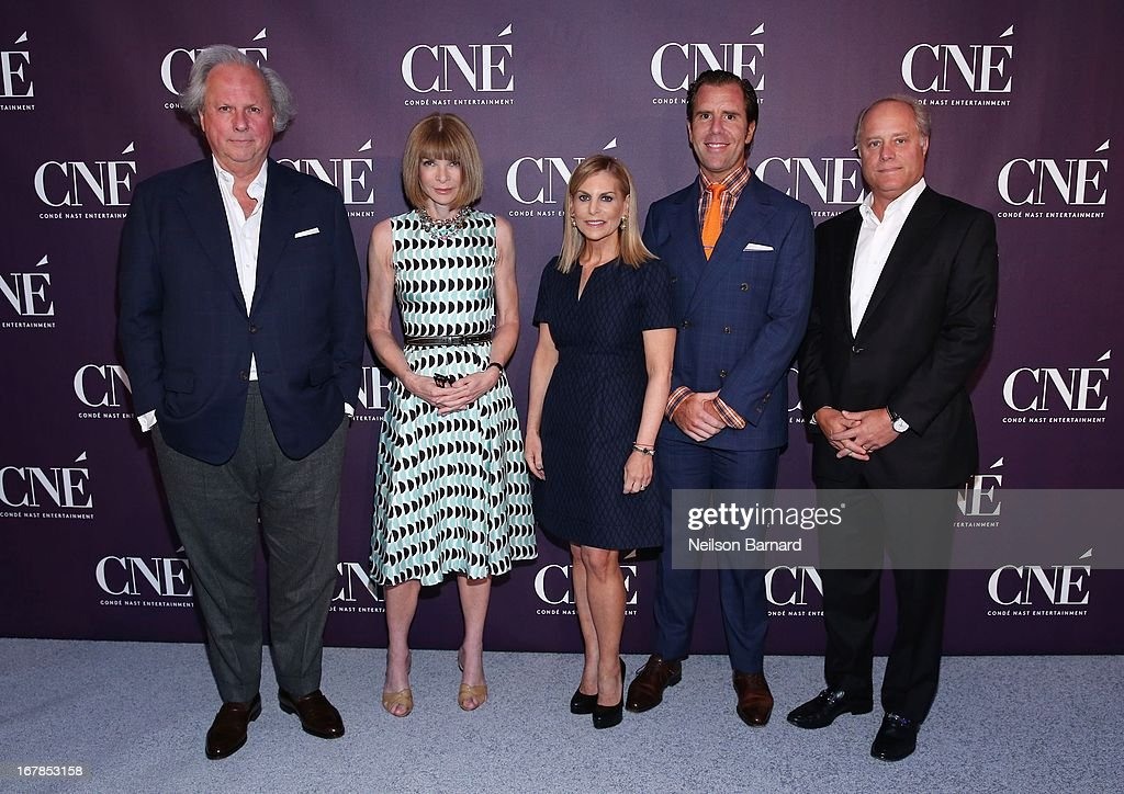 Editor-in-Chief of Vanity Fair <a gi-track='captionPersonalityLinkClicked' href=/galleries/search?phrase=Graydon+Carter&family=editorial&specificpeople=605905 ng-click='$event.stopPropagation()'>Graydon Carter</a>, Editor-in-Chief of Vogue and Artistic Director of Conde Nast <a gi-track='captionPersonalityLinkClicked' href=/galleries/search?phrase=Anna+Wintour&family=editorial&specificpeople=202210 ng-click='$event.stopPropagation()'>Anna Wintour</a>, President of Conde Nast Entertainment <a gi-track='captionPersonalityLinkClicked' href=/galleries/search?phrase=Dawn+Ostroff&family=editorial&specificpeople=239016 ng-click='$event.stopPropagation()'>Dawn Ostroff</a>, Editor-in-Chief of Wired Scott Dadich and President of Conde Nast Bob Sauerberg attend the Conde Nast Entertainment NewFront presentation on May 1, 2013 in New York City. CNE announced the addition of original programming to their digital network including slates inspired by Vogue and Wired, six new series inspired by Glamour and GQ for those channels which launched in March, and additional channels to be added later this year including Vanity Fair, Teen Vogue, Epicurious and Style.com.