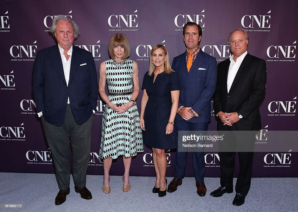 Editor-in-Chief of Vanity Fair Graydon Carter, Editor-in-Chief of Vogue and Artistic Director of Conde Nast Anna Wintour, President of Conde Nast Entertainment Dawn Ostroff, Editor-in-Chief of Wired Scott Dadich and President of Conde Nast Bob Sauerberg attend the Conde Nast Entertainment NewFront presentation on May 1, 2013 in New York City. CNE announced the addition of original programming to their digital network including slates inspired by Vogue and Wired, six new series inspired by Glamour and GQ for those channels which launched in March, and additional channels to be added later this year including Vanity Fair, Teen Vogue, Epicurious and Style.com.