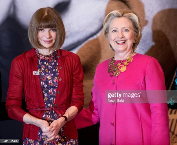 Editorinchief of Vogue Anna Wintour and Former United States Secretary of State Hillary Clinton attend the Oscar de la Renta Forever Stamp dedication...