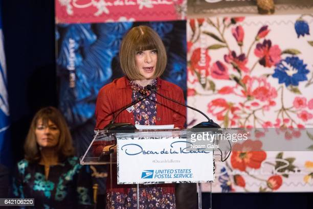 Editorinchief of Vogue Anna Wintour attends the Oscar de la Renta Forever Stamp dedication ceremony at Grand Central Terminal on February 16 2017 in...