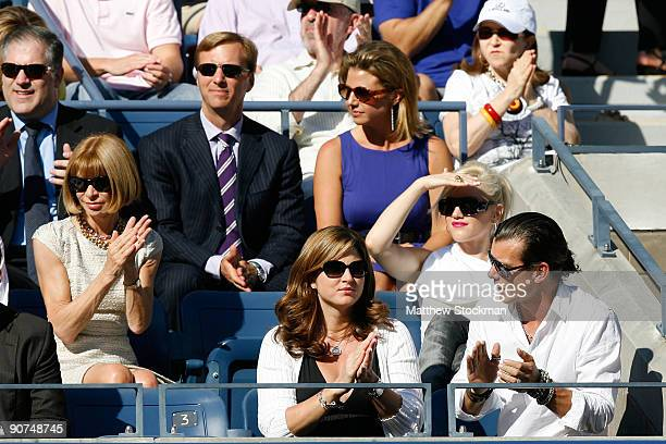 Editorinchief of Vogue Anna Wintour Mirka Federer Gwen Stefani and Gavin Rossdale at the match between Roger Federer of Switzerland and Juan Martin...