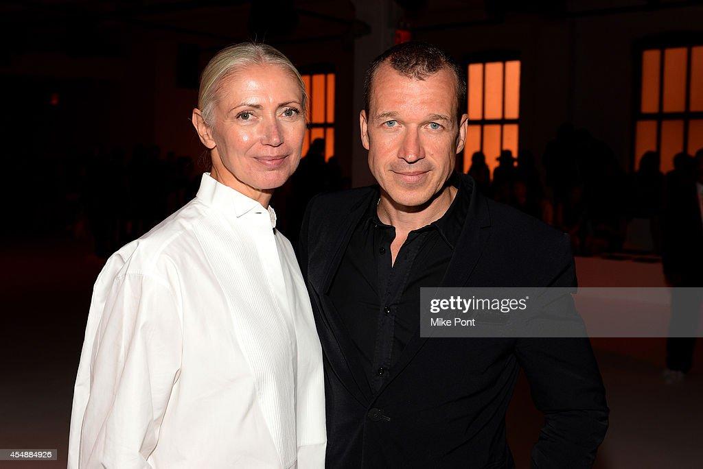 Editorinchief of Vogue Deutsch Christiane Arp and Porsche Design CEO Juergen Gessler attend the Porsche Design Spring/Summer 2015 fashion show during...