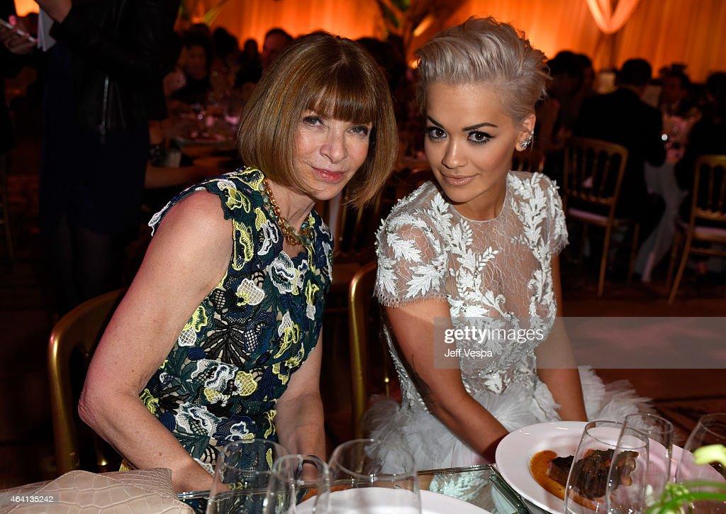 EditorinChief of 'Vogue' magazine Anna Wintour and recording artist Rita Ora attend The Weinstein Company's Academy Awards Nominees Dinner in...
