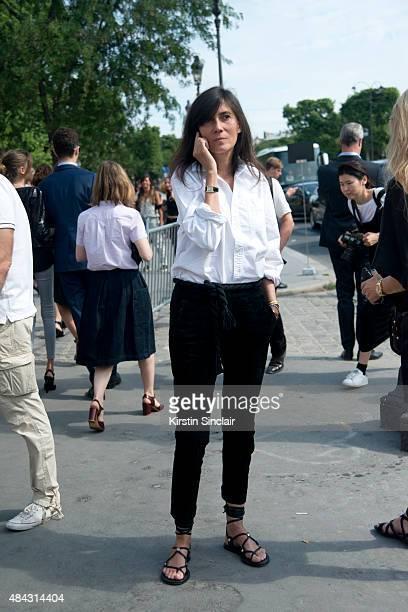 EditorinChief of Vogue Paris Emmanuelle Alt on day 3 of Paris Fashion Week Haute Couture Autumn/Winter 2015 on July 7 2015 in Paris France