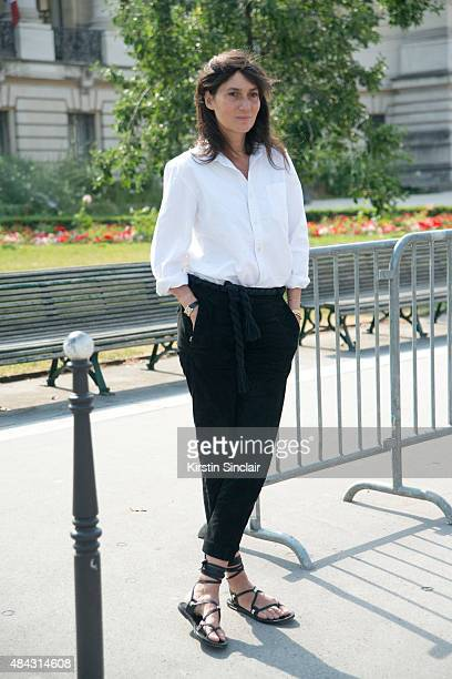EditorinChief of Vogue Paris Emmanuelle Alt on day 3 of Paris Fashion Week Haute Couture Autumn/Winter 2015 on July 7 2015 in Paris France