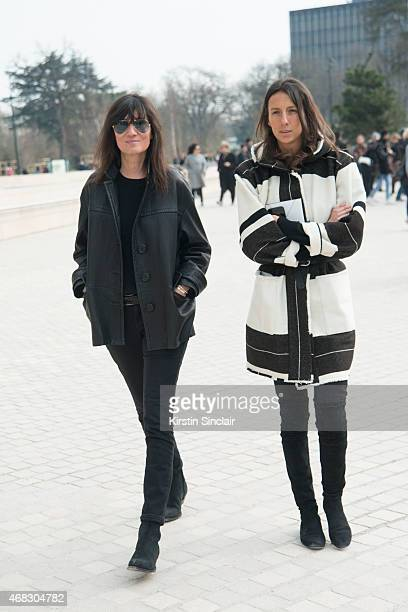 Editorinchief of Vogue Paris Emmanuelle Alt with Fashion Editor at French Vogue Geraldine Saglio on day 9 of Paris Collections Women on March 11 2015...