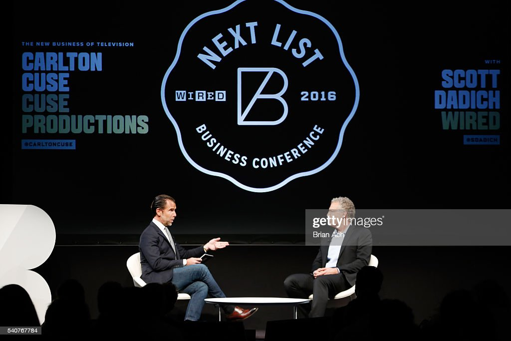 Editor-in-chief of WIRED Scott Dadich (L) and Producer Carlton Cuse speak on stage during the 2016 Wired Business Conference on June 16, 2016 in New York City.