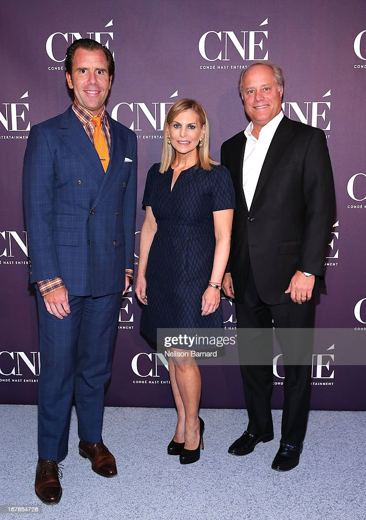 Editor-in-Chief of Wired Scott Dadich, President of Conde Nast Bob Sauerberg and President of Conde Nast Entertainment <a gi-track='captionPersonalityLinkClicked' href=/galleries/search?phrase=Dawn+Ostroff&family=editorial&specificpeople=239016 ng-click='$event.stopPropagation()'>Dawn Ostroff</a> attend the Conde Nast Entertainment NewFront presentation on May 1, 2013 in New York City. CNE announced the addition of original programming to their digital network including slates inspired by Vogue and Wired, six new series inspired by Glamour and GQ for those channels which launched in March, and additional channels to be added later this year including Vanity Fair, Teen Vogue, Epicurious and Style.com.