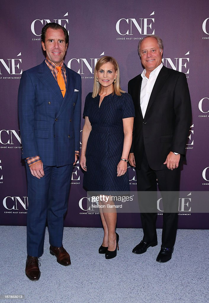 Editor-in-Chief of Wired Scott Dadich, President of Conde Nast Entertainment <a gi-track='captionPersonalityLinkClicked' href=/galleries/search?phrase=Dawn+Ostroff&family=editorial&specificpeople=239016 ng-click='$event.stopPropagation()'>Dawn Ostroff</a> and President of Conde Nast Bob Sauerberg attend the Conde Nast Entertainment NewFront presentation on May 1, 2013 in New York City. CNE announced the addition of original programming to their digital network including slates inspired by Vogue and Wired, six new series inspired by Glamour and GQ for those channels which launched in March, and additional channels to be added later this year including Vanity Fair, Teen Vogue, Epicurious and Style.com.