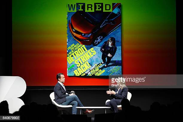 EditorinChief of WIRED Scott Dadich speaks with Chairman and CEO of GM Mary Barra on stage during the 2016 Wired Business Conference on June 16 2016...