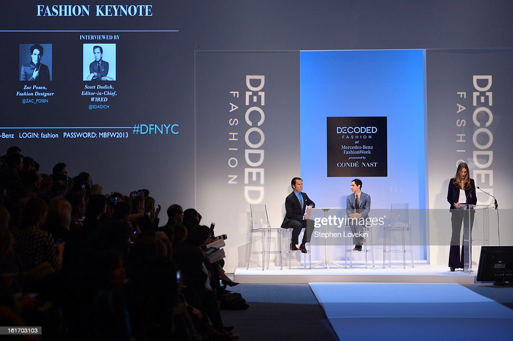 Editor-in-chief Scott Dadich and designer Zac Posen speak at The Decoded Fashion Forum & Hackathon Finale Fall 2013 fashion show during Mercedes-Benz Fashion Week at The Stage at Lincoln Center on February 14, 2013 in New York City.