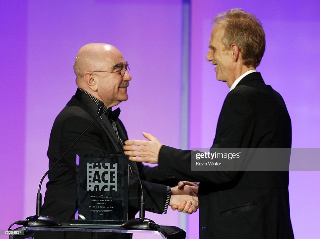 Editor/President of ACE Alan Heim presents editor Steven Cohen ACE the '2007 Robert Wise Award' onstage during the 57th annual ACE Eddie Awards held...