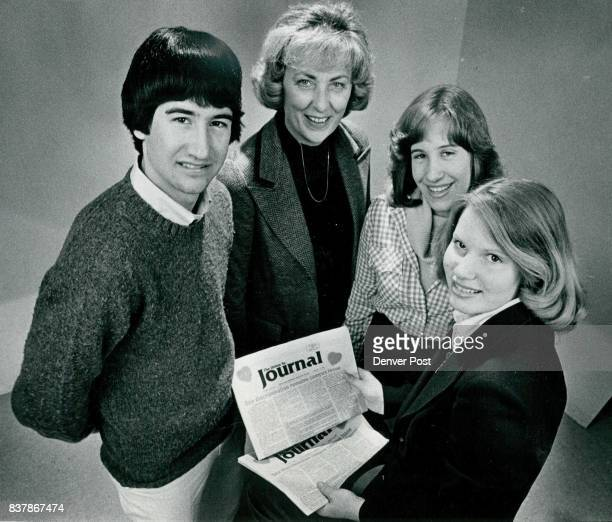 Editors Adviser Examine Copies of PrizeWinning Newspaper From left are Peter Ludwig Carol Taylor adviser Carrie Printz and Lisa Stern Credit Denver...