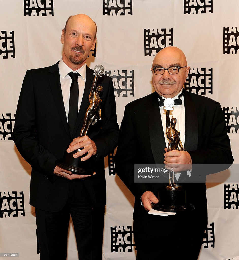 Editors Lee Percy and Alan Heim pose with their awards for Best Edited Miniseries or Motion Picture for Television for Grey Gardens at the 60th...