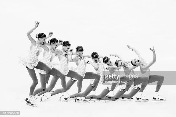 [Editors' Note Image created with multiple exposures] Polina Edmunds of the United States competes in the Figure Skating Ladies' Short Program on day...