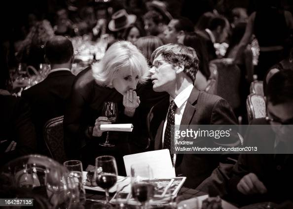 [Editors Note This image was processed using digital filters] Julie Muraco Executive Director of the Amy Winehouse Foundation and John Norris talk at...