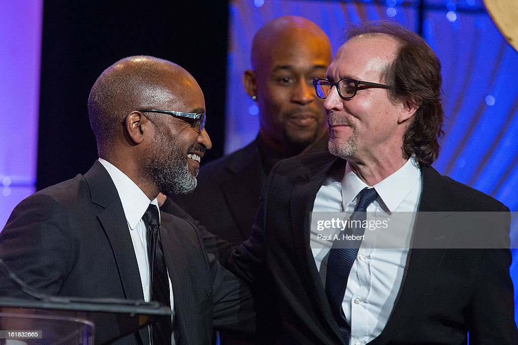 Editors Robert Grahamjones, A.C.E. (L) and Nicholas C. Smith, A.C.E. receive the award for Best Animated Feature Film for their work on 'Brave' during the 63rd Annual ACE Eddie Awards held at The Beverly Hilton Hotel on February 16, 2013 in Beverly Hills, California.
