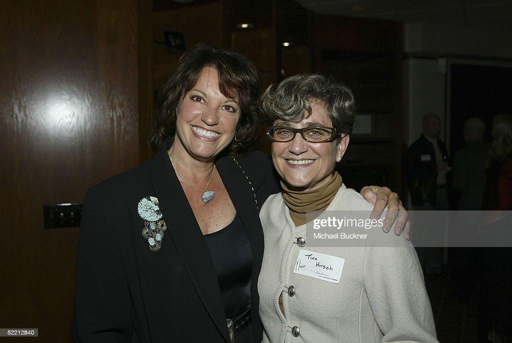 Editors Virginia Katz and Tina Hirsch pose at the nominee reception for the American Cinema Editors Eddie Awards on February 17, 2005 at the Kodak Atrium in Hollywood, California.