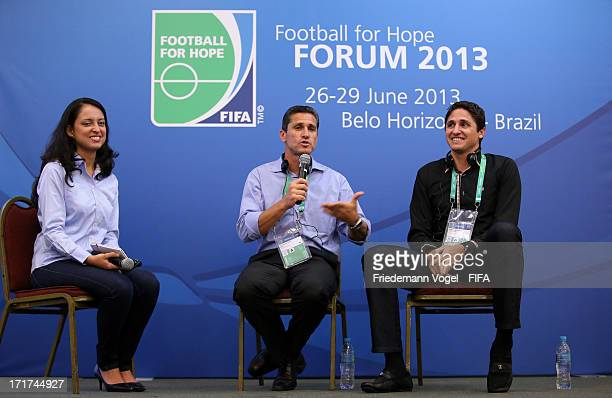 Edmilson and Jorginho attend the Football for Hope Forum during the FIFA Confederations Cup on June 28 2013 in Belo Horizonte Brazil