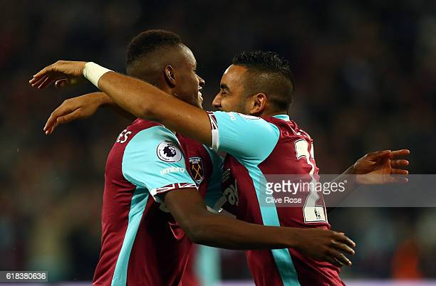 Edmilson Fernandes of West Ham United celebrates scoring his sides second goal with Dimitri Payet of West Ham United during the EFL Cup fourth round...