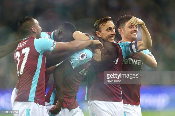 Edmilson Fernandes of West Ham United celebrates scoring his sides second goal with his team mates during the EFL Cup fourth round match between West...