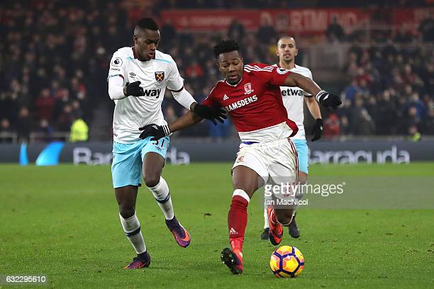 Edmilson Fernandes of West Ham United puts pressure on Adama Traore of Middlesbrough during the Premier League match between Middlesbrough and West...
