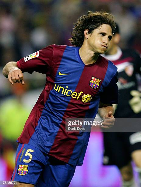 Edmilson of Barcelona reacts after missing a header at goal during the Primera Liga match between Sevilla and Barcelona at the Sanchez Pizjuan...