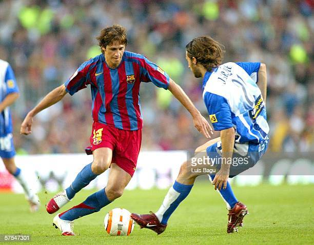 Edmilson of FC Barcelona and Jarque of Espanyol during a La Liga match between FC Barcelona and Espanyol at the Camp Nou stadium on May 6 2006 played...