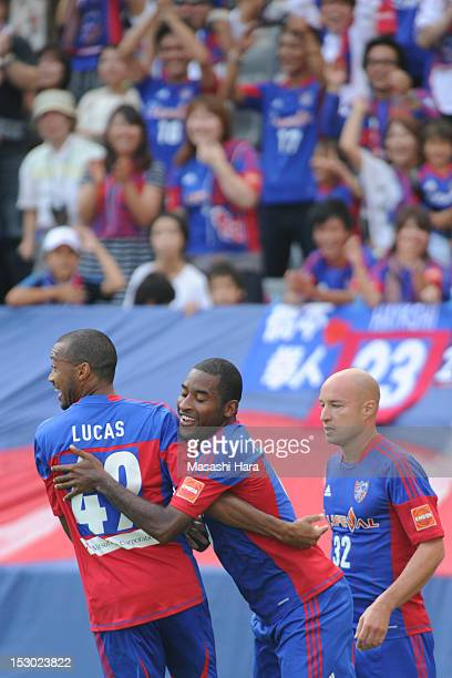 Edmilson of FC Tokyo celebrates the first goal during the JLeague match between FC Tokyo and Jubilo Iwata at Ajinomoto Stadium on September 29 2012...