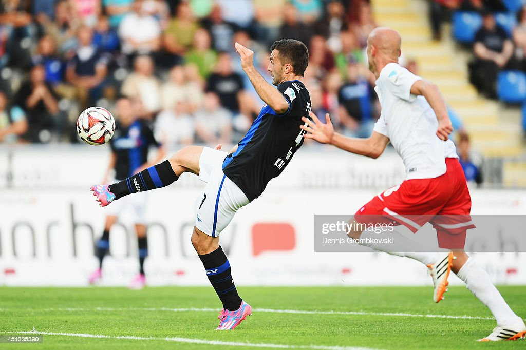 <a gi-track='captionPersonalityLinkClicked' href=/galleries/search?phrase=Edmond+Kapllani&family=editorial&specificpeople=741963 ng-click='$event.stopPropagation()'>Edmond Kapllani</a> of FSV Frankfurt misses a chance at goal during the Second Bundesliga match between FSV Frankfurt and RB Leipzig at Volksbank Stadion on August 29, 2014 in Frankfurt am Main, Germany.