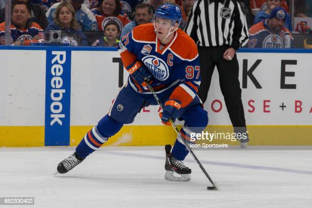 Edmonton Oilers Center Connor McDavid catches a pass at the blue lilne on March 10 2017 at Rogers Place in Edmonton AB The Penguins out scored the...