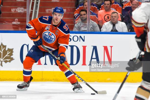 Edmonton Oilers Center Connor McDavid eyes up his lines for a pass on May 07 2017 at Rogers Place in Edmonton AB The Oilers ended the game 7 to 1...