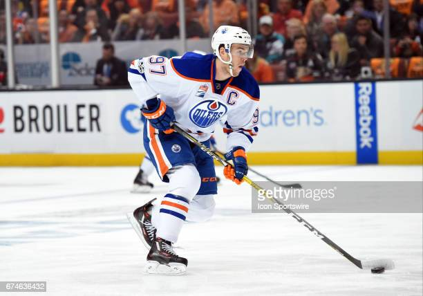 Edmonton Oilers Center Connor McDavid looks for an open pass during game 2 of the second round of the 2017 NHL Stanley Cup Playoffs between the...