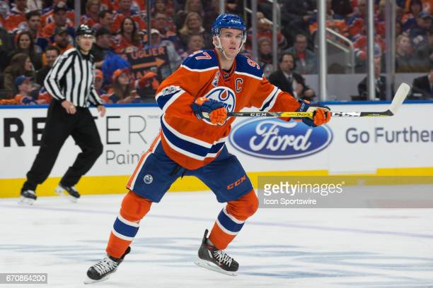 Edmonton Oilers Center Connor McDavid waiting patiently for a pass during the game against the Sharks on April 14 2017 at Rogers Place in Edmonton AB...