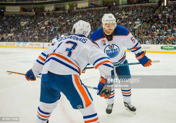 Edmonton Oilers center Mark Letestu and Edmonton Oilers center David Desharnais get set for a face off during the first round Stanley Cup Playoffs...