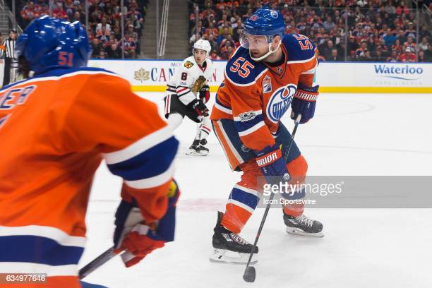 Edmonton Oilers Center Mark Letestu shoulder checks after a backhand pass on February 11 2017 at Rogers Place in Edmonton AB The Blackhawks outscored...