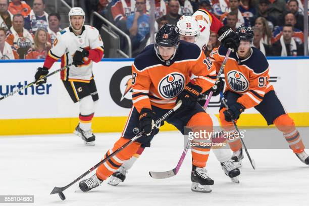 Edmonton Oilers Center Ryan Strome protects the puck during the Edmonton Oilers game versus the Calgary Flames at Rogers Place in Edmonton AB