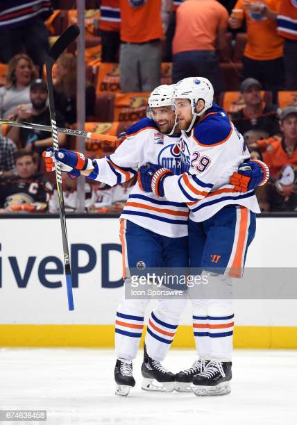 Edmonton Oilers Defenceman Andrej Sekera celebrates with Edmonton Oilers Right Wing Leon Draisaitl after scoring their first goal of the game in the...