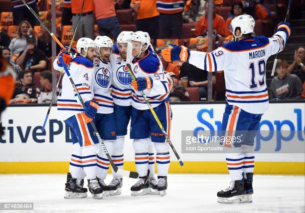 Edmonton Oilers Defenceman Andrej Sekera celebrates with his team mates after scoring their first goal of the game in the first period during game 2...