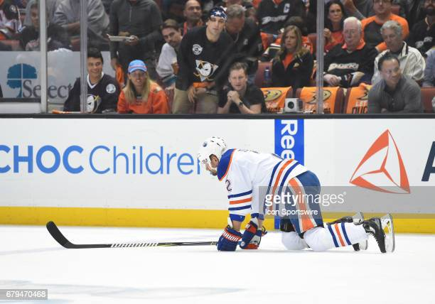 Edmonton Oilers Defenceman Andrej Sekera goes down on the ice with an injury during game 5 of the second round of the 2017 NHL Stanley Cup Playoffs...