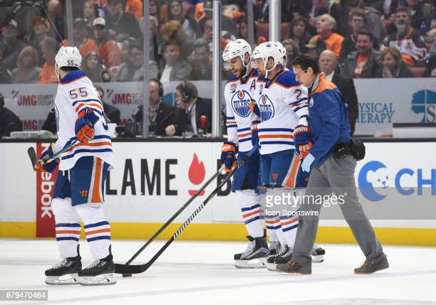 Edmonton Oilers Defenceman Andrej Sekera skates off the ice after being injured during game 5 of the second round of the 2017 NHL Stanley Cup...