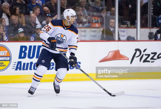 Edmonton Oilers Defenceman Darnell Nurse stick handles the puck during the Edmonton Oilers game versus the Vancouver Canucks on October 07 at Rogers...