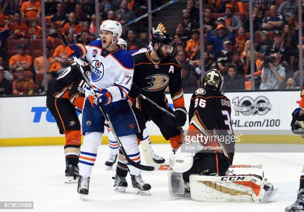 Edmonton Oilers Defenceman Oscar Klefbom celebrates after the Oilers score their third goal of the game in the third period during game 1 of the...