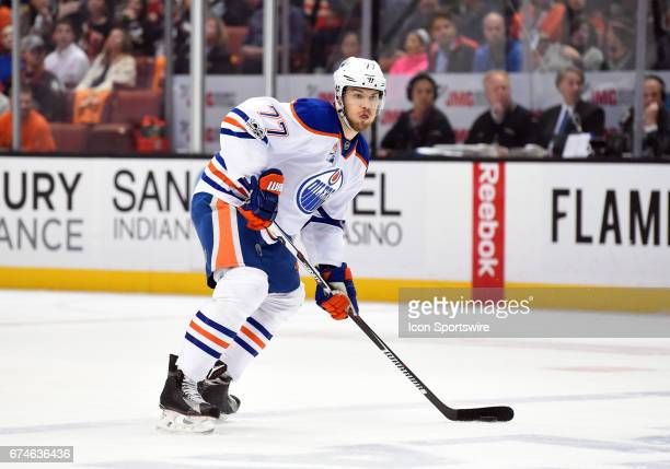 Edmonton Oilers Defenceman Oscar Klefbom look sfor an open pass during game 2 of the second round of the 2017 NHL Stanley Cup Playoffs between the...