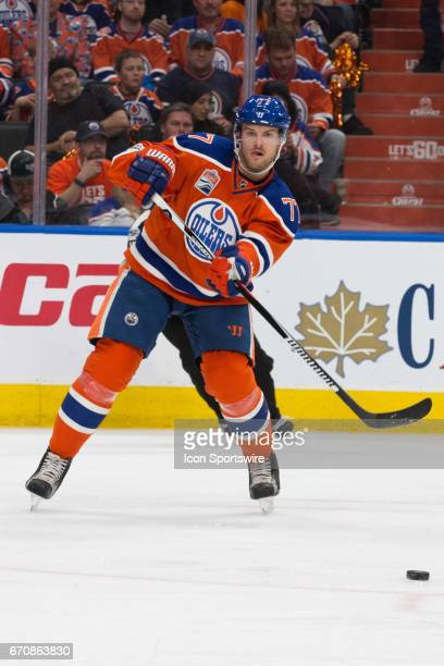 Edmonton Oilers Defenceman Oscar Klefbom passes the puck to a team mate on April 14 2017 at Rogers Place in Edmonton AB The Oilers won 2 to 0