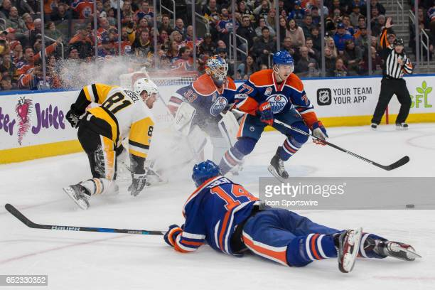 Edmonton Oilers Defenceman Oscar Klefbom rushes to move the puck away from the Edmonton net on March 10 2017 at Rogers Place in Edmonton AB The...